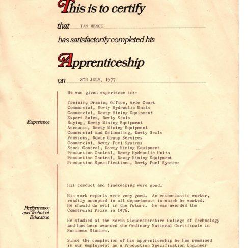 Ian Mence 1977 - Apprentice Completion Certificate | Ian Mence