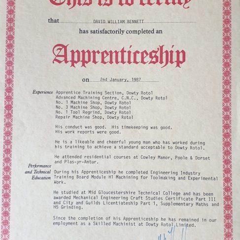 Dave William Bennett 1987 - Apprentice Completion Certificate | Dave W Bennett