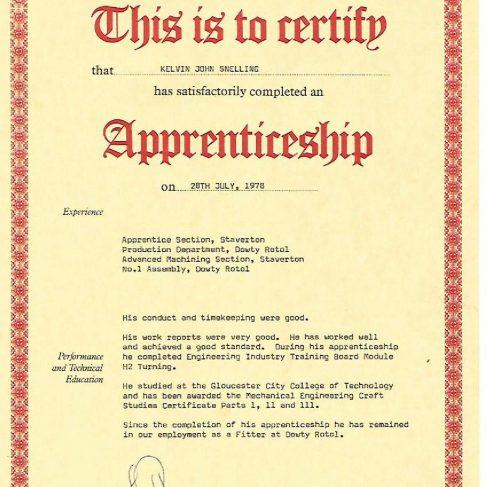 Kelvin Snelling 1978 - Apprentice Completion Certificate | Kelvin Snelling