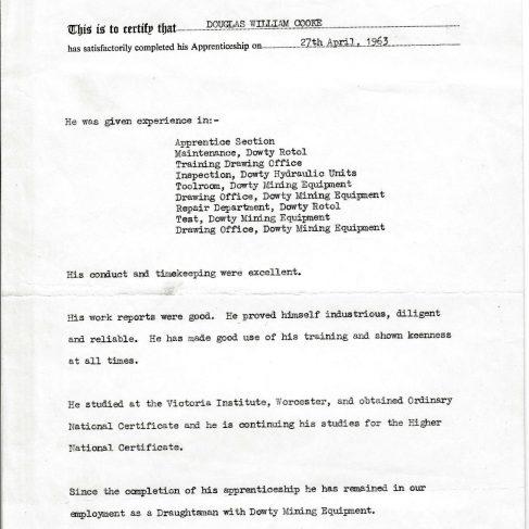 Doug Cooke 1963 - Apprentice Completion Certificate | Doug Cooke